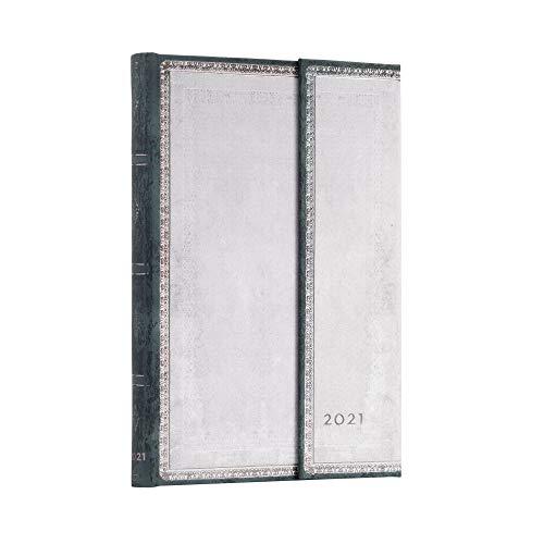 Paperblanks 12-Monatskalender 2021 Weißer Feuerstein | Vertikal | Midi (130 × 180 mm)
