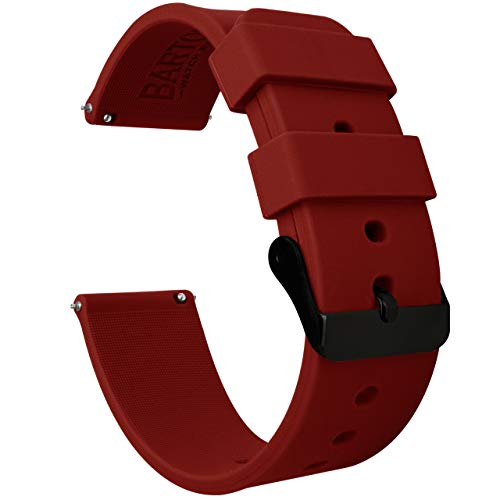 20mm Crimson Red - BARTON Watch Bands - Soft Silicone Quick Release - Black Buckle