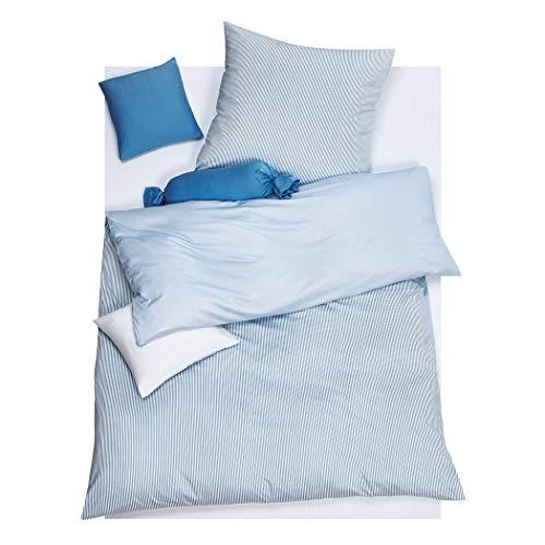 DORIS MEYER Interlock-Jersey Wendebettwäsche Raffi bleu 1 Bettbezug 135 x 200 cm + 1 Kissenbezug 80 x 80 cm
