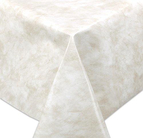 WACHSTUCH TISCHDECKE, Meterware abwischbar, Größe wählbar, 190x140 cm, Glatt Marmor Beige