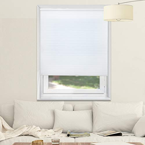 Cellular Blinds Cordless Window Blinds Light Filtering Honeycomb Shades for Home and Office, White, 29x64