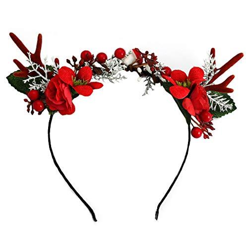 Unicra Weihnachten Stirnband Blume Geweih Stirnband Elch Hirsch Tier Hörner Kopfbedeckung Haarteil Halloween Haarschmuck für Frauen und Mädchen