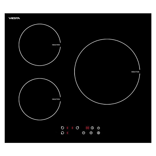 Viesta I3Z - Placa de cocina vitrocéramica de inducción, 3 zonas de cocción, 5500 W potencia total, color negro
