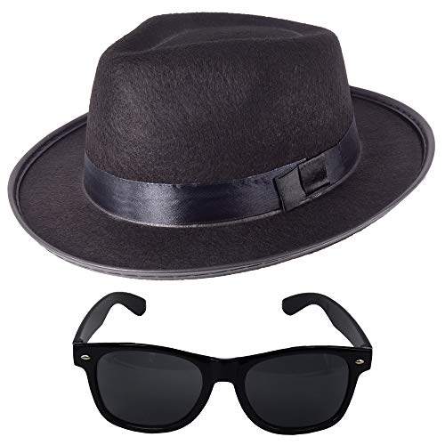 German Trendseller® Blues Brothers - Set - Schwarz - Deluxe -┃ Filz Hut + Sonnenbrille ┃ Sänger ┃ Karneval -Fasching ┃ Brothers of Blues - Set