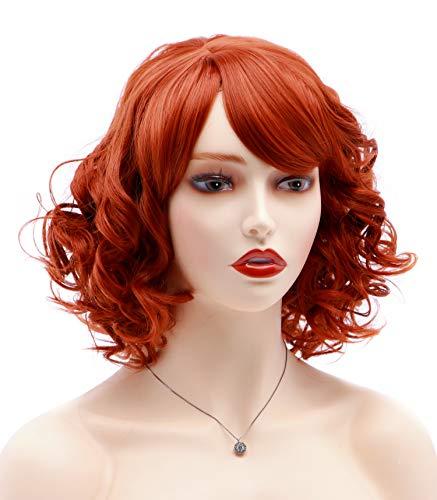 Bestung - Peluca sintética para mujer, pelo corto, rizado y pelirrojo, con flequillo
