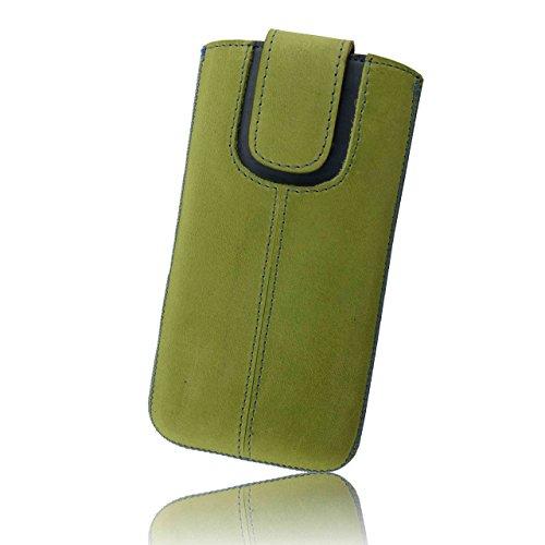 OrLine Handytasche geeignet für ZTE Blade V8 Lite. Ledertasche Tasche Echtleder Etui Leder-Hülle (Lasche mit Rückzugfunktion Ausziehhilfe) Schutzhülle Hülle Cover