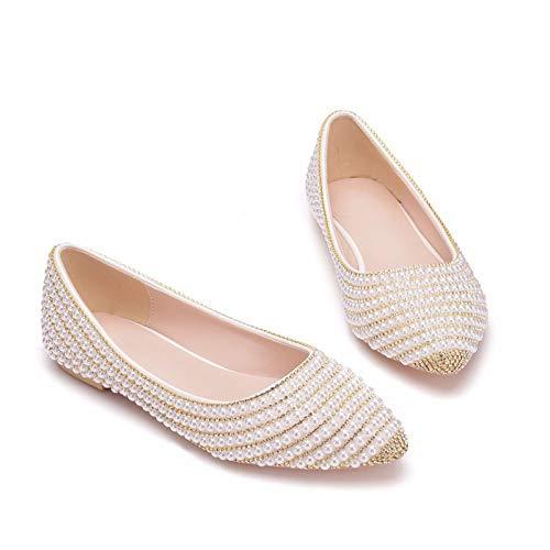 Zapatos De Novia De Mujer, Temperamento Oro Cadena De Diamantes De Imitación...