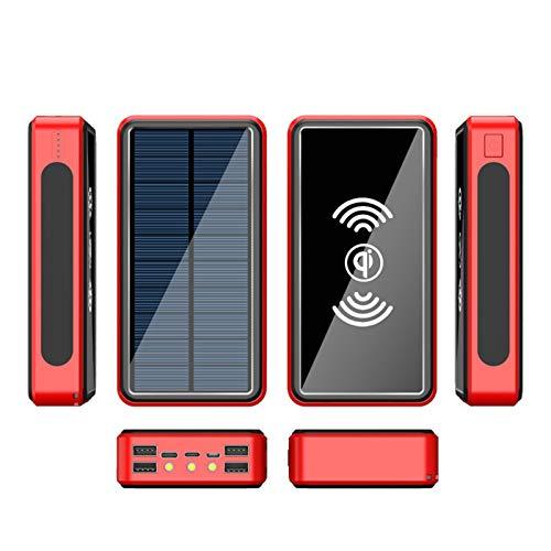 AEU Solar Powerbank Cargador Solar, 10W QI Carga Inalámbrica, Batería Externa Portátil De Carga Rápida Linterna LED, 3 Entradas 4 Salidas, para Tabletas, Teléfono Móvil, Viajes ES986S,Rojo,50000mAh