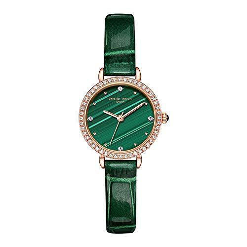 YIBOKANG Temperamento De Moda De Mujer Peacock Green Water Drill Empresa De Agua Reloj De Cuarzo Creativo Reloj De Moda Casual Creativo (Color : 1)