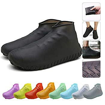 Nirohee Silicone Shoes Covers Shoe Covers Rain Boots Reusable Easy to Carry for Women Men Kids  Black L