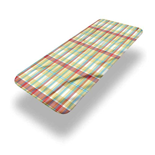 LCGGDB Plaid Polyester Picnic Table Fitted Tablecloth Cover,Squares and Rectangles Elastic Edged Picnic Table Covers,30in x 72in (6ft),for Camping, Dining, Outdoor, Park, Patio