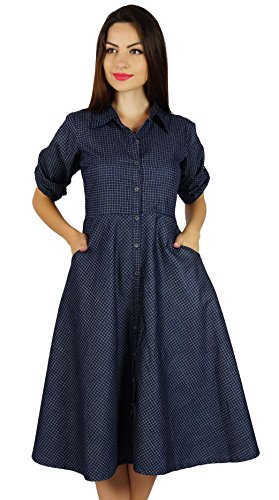 Bimba Frauen Button Chambray Shirt-Kleid mit Taschen lässig Kragen Hals Etuikleid