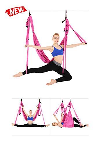 QWET Yoga Flying Hammock Swing, Aerial-Yoga Hängematten-Seidenstoff mit Karabinerhaken, Yoga Anti-Schwerkraft-Pilates-Hängematte
