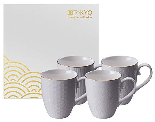 TOKYO design studio Nippon White 4er Tassen-Set weiß, mit Gold-Rand, Ø 8,5 cm, 10,2 cm hoch, 380 ml, asiatisches Porzellan, Japanisches Design, inkl. Geschenk-Verpackung