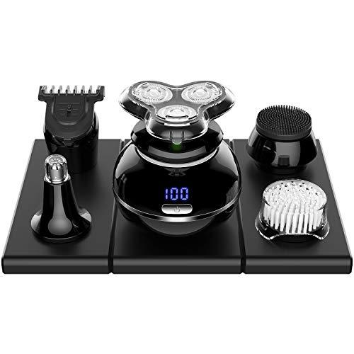 Glatzen Rasierer Herren Elektrisch Haarschneidemaschine 5 in 1 Elektrorasierer Bartschneider Nasenhaarschneider Herrenpflege-Kit nass LED Anzeige von ELEHOT
