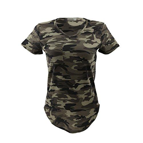 Camiseta casual con cuello en V y manga corta, para mujer, diseño de camuflaje militar, Mujer, color Vert Armée, tamaño S
