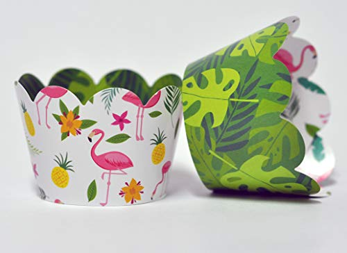 Flamingo Cupcake Wrappers for Kids Birthday Parties, Baby Showers, Bridal Showers, Tropical themed parties and school events. Set of 24 Reversible cute Cup Cake Holder Wraps. Green, Yellow, Pink