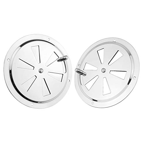 SDENSHI 2 Pack of 5 inch Cabin Ventilation Butterfly Air Vent Gill Plate with Side Knob 316 Stainless Steel for Marine Boats Accessories - Round