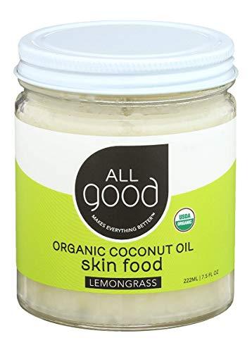 All Good Organic Coconut Oil Skin Food w/Lemongrass Essential Oil - Natural Moisturizing Skin Care - Non GMO - Vegan - 7.5 oz (Lemongrass)