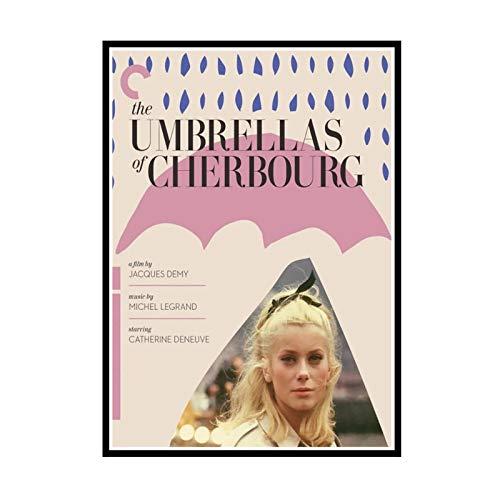 IUYTRF Die Regenschirme von Cherbourg Die Regenschirme von Cherbourg Jacques Demy Film Dekorative Poster Wand Leinwand Aufkleber Home Decor-50X75 cm No Frame 1 Pcs