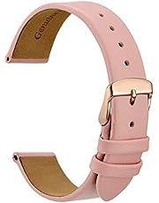 WOCCI Elegantes Correas de Reloj, Correa de Repuesto de Cuero Genuino, Hebilla de Acero Inoxidable, 14mm 16mm 18mm 20mm