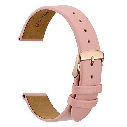 WOCCI 18mm Elegantes Uhrenarmband für Damen mit Roségoldener Schnalle (Hellrosa)