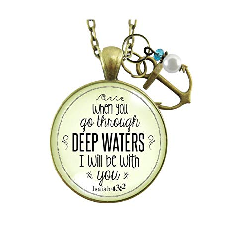 """Gutsy Goodness Faith Necklace Go Through Deep Waters Encouragement Scripture Jewelry 24"""""""