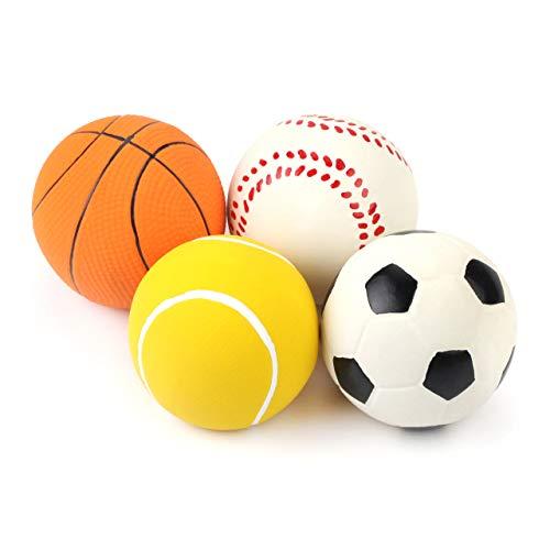 Chiwava 3PCS 2.7 '' Squeak Latex Dog Toy Calcio Mastica Fetch Throw Ball per gioco interattivo Medium Dogs