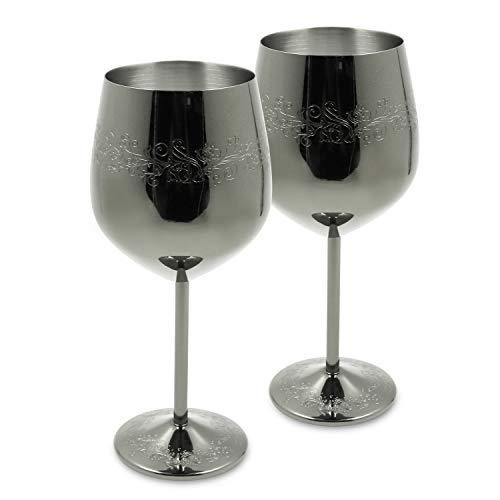 SKY FISH - Juego de copas de vino de acero inoxidable, 2 (17 onzas)