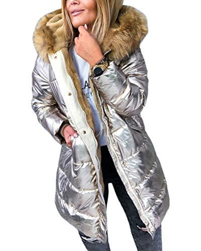 ORANDESIGNE Goldene Metallic Taschen Umlegekragen Langarm Warmer Glänzend Steppjacke Wintermantel Damen Mode XXL