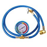 R134a Charging Hose A/C Refrigerant Recharge Hose Quick Couple,R-134A Refrigerant Recharging Hose Kit with Gauge Total Long 52'' Charge Hose