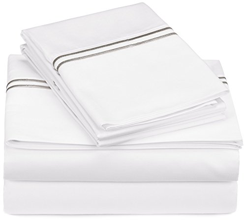 Pinzon 400-Thread-Count Egyptian Cotton Sateen Hotel Stitch Sheet Set - King, Silver Grey