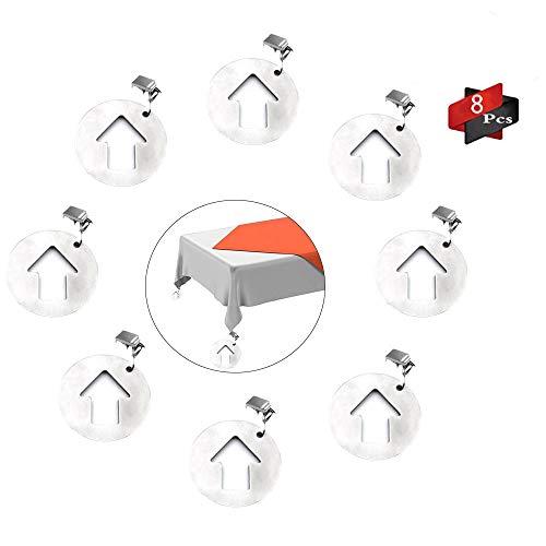Anyingkai 8Pcs Tischdeckenbeschwerer Outdoor, Tischdeckenbeschwerer Edelstahl, Tischdeckenbeschwerer Set, Tischtuchhalter für Drinnen Draußen, Tischdeckenbeschwerer mit Klammer (Pfeil)