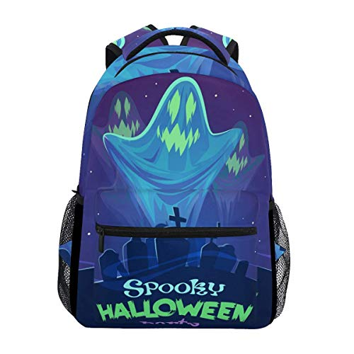 Casual School Backpack Spooky Halloween Party Ghosts Lightweight Travel Daypack College Shoulder Bag for Women Girls Teenage