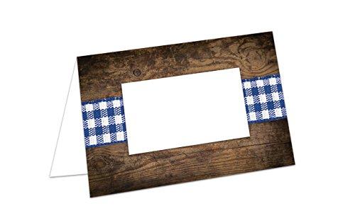100 stuks kleine blauw-wit bruin Beierse geruit hout-look tafelkaarten naamkaartjes naamkaartjes plaatskaartjes plaatskaarten - Oktoberfest Bayern-Fest Bier-Fest naamkaartjes voor elke pot!