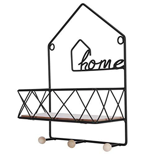 Estante de pared de madera de hierro sin sacacorches, soporte de exhibición simple decoración para el hogar, sala de estar, dormitorio