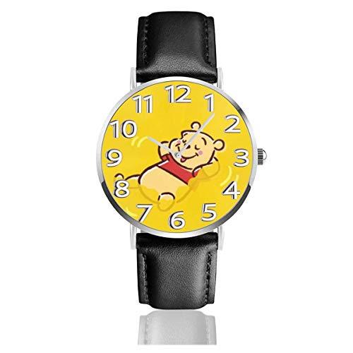 Winnie The Pooh Reloj Unisex de Cuarzo analógico Easy Reader de 38 mm con Correa de Cuero
