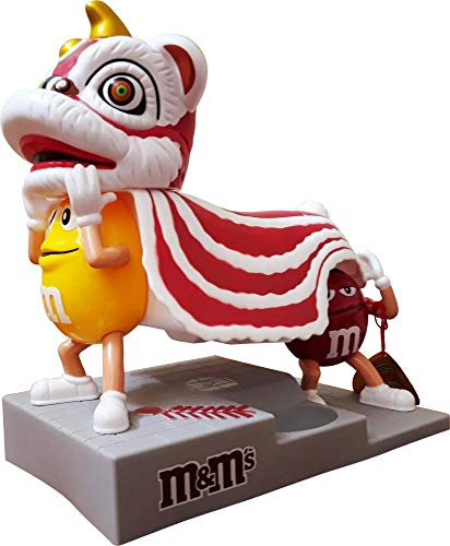 M&M World Candy Dispenser Chinese Lion Dragon with Yellow and Red Characters Limited Edition