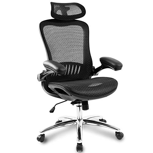 Ergonomic Office Chair,Mesh Chair Heavy Duty Desk Chair,Adjustable Headrest and Armrest,Home Computer Chair with Tilt Function and Position Lock,Swivel Computer Task Chair,High-Back (Bright Black)