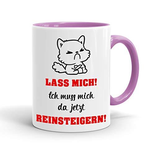 True Statements Lustige Tasse Lass mich ich muss mich da jetzt reinsteigern - Kaffee-Tasse mit Spruch - Geschenk für Mitarbeiter - Chef - Büro - Arbeit, inner rose