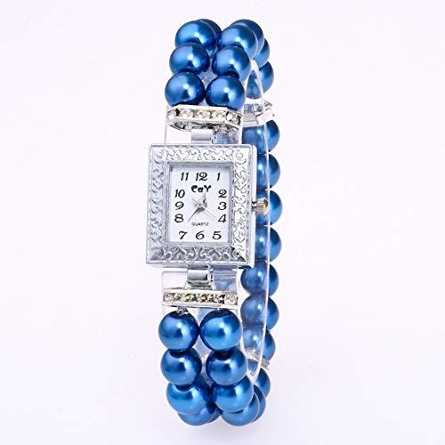 HZLY Relojes Casual Relojes rectangulares Las Mujeres Europeas y Americanas de Metal Cadena de Reloj de Cuarzo de Pulsera de la Perla