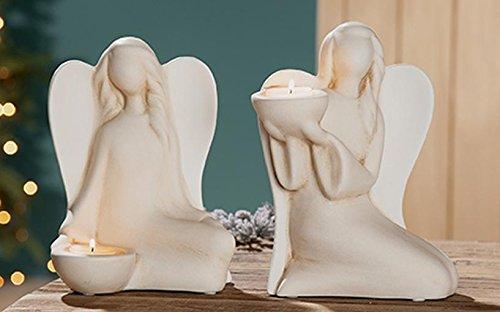 GILDE Keramik Engel Lucina 2 Stück Creme/Weiss Teelichthalter hoch L = 11 x B = 17 x H = 22 cm