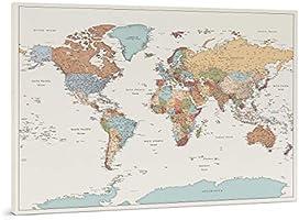 Planisfero da Parete - Dettagliato Cartina Geografica Del Mondo con Puntine - Stampa su Tela - Diario di Viaggio - 3...