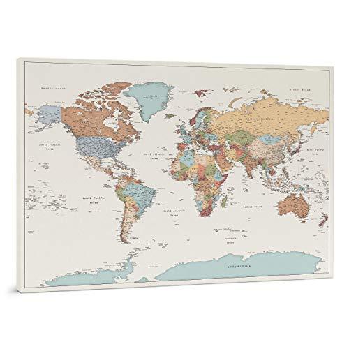 Planisfero da Parete - Dettagliato Cartina Geografica Del Mondo con Puntine - Stampa su Tela - Diario di Viaggio - 3 Dimensioni: Media/Grande/Gigante