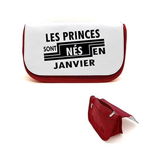 Mygoodprice Trousse de beauté étui maquillage princes nés en janvier Rouge