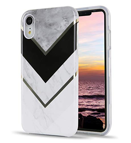 TRENSOM iPhone XR Case Stripes Marble, White Gray Marble XR Case with Stripe, Dual Layers Soft TPU Hard PC Shockproof XR iPhone Cases for Women Girls Men Boys, iPhone XR [6.1