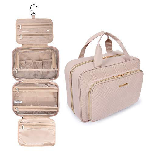 BAGSMART Toiletry Bag Hanging Travel Makeup Organizer with TSA Approved Transparent Cosmetic Bag Makeup Bag for Full Sized Toiletries, Medium-Pink