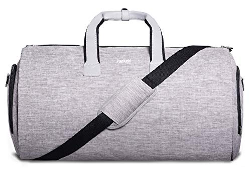 Reisetasche UND Reise-Kleidersack 2in1 | Laptoptasche, Geschenkbox +Gepäckanhänger Gratis | Weekender-Tasche, Anzugtasche Reise Seesack für Männer Reisetaschen Handgepäck für die Reise (Grau)