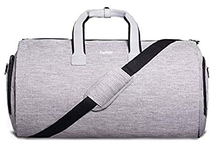 Bolsa de Lona Y Portatrajes 2en1 | Bolsillo para Laptop, Caja de Regalo +Etiqueta de Equipaje | Bolsa de Fin de Semana para Traje, Bolsa de Viaje, Bolsa de Lona para Hombre (Gris Claro)
