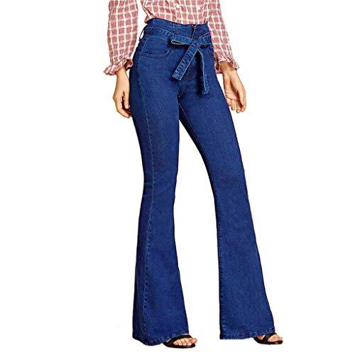 RISTHY Pantalones Acampanados Mujer Mujer Pantalones Vaqueros Campanas de Campana Cintura Alta Jeans de Mujer Elástico con Arco Retro Flared Jeans